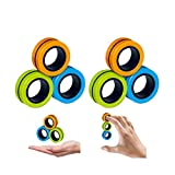 6 PCS Stress Relief Magnetic Rings - EDC Fidgeting Game for Autism ADHD Anxiety Relief Focus Decompression - Finger Fidget Toys - Magic Mini Finger Hand Spinner Gadget Rings - Funny Novelty Gifts