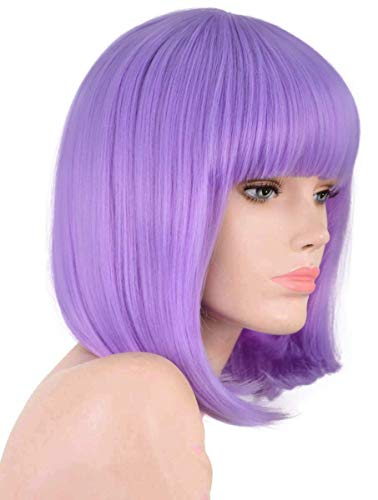 Lavender purple wig Short Bob Wig With Bangs For Women Synthetic Pastel Purple Wigs Straight Women's Costume Wigs Halloween Party Christmas Cosplay Wigs (Lavender purple)