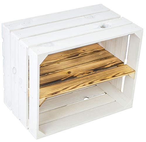 Kistenkolli Altes Land Weiße Obstkiste Schuh- Bücherregalkiste Weinkiste Maße ca 50 x 40 x 31cm Holzkiste Dekokiste Regal (geflammtes Mittelbrett längs)