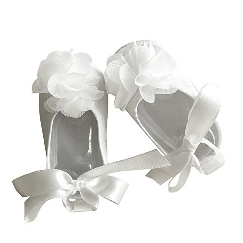 Booulfi Baby Girls' Shoe for Christening, Dress Cream Baptism Flowers Laces Shoes