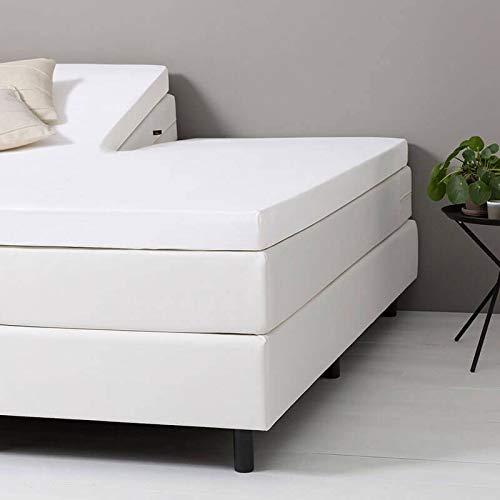 Verkoelend Splittopper Hoeslaken Katoen - Wit - 200x210 cm - Percal Katoen - Dekbed-Discounter - Voor Matrassen Tot 8 CM