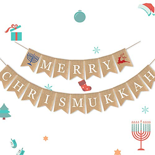 7-gost Burlap Merry Chrismukkah Banner Christmas and Hanukkah Party Garland Supplies Decorations(Elk)