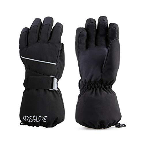 TRIWONDER Kinder Handschuhe, Warme und Winddichte Skihandschuhe für Laufen Skifahren Wandern Snowboard (Schwarz, L (11-14 Jahre alt))