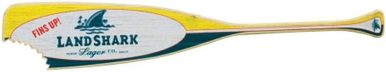 Margaritaville Outdoor Landshark Indoor//Outdoor Wood Paddle Sign Wall Art Decor Yellow