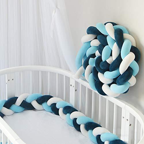 Nigecue 2m Protector cuna trenzado Cojín trenza cuna bebe Parachoques cuna Torre de cama cojín protectores Para Cunas Camas de bebé Cochecito de bebé Parachoques trenzado cuna - Blanco+Azul marino