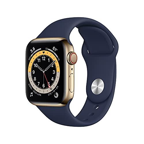 AppleWatch Series6 (GPS+Cellular) - Caja de Acero Inoxidable enOro de 40mm - Correa Deportiva Azul Marino Intenso