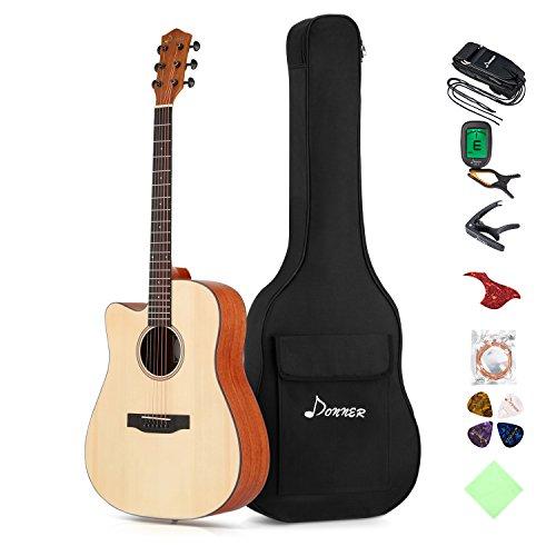 Donner para zurdos Guitarra Acústica con Cutaway 41 Pulgadas Color de Madera Natural con Set de Accesorios DAG-1CL
