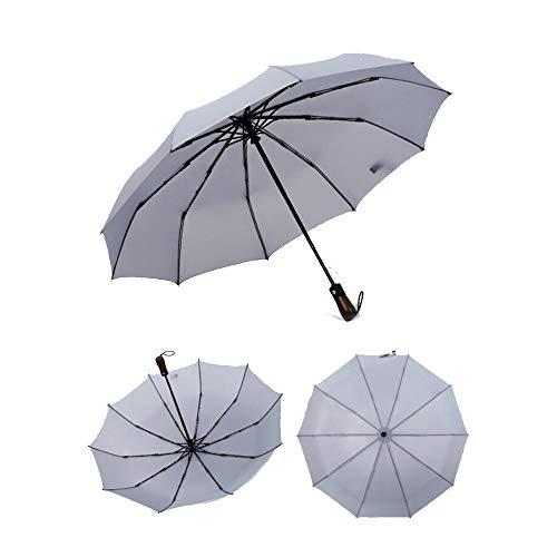 Yi-xir Experiencia Confortable Menores y Mujeres a Prueba de Viento reflexivo Lluvia Pliegue Mango de Madera Paraguas Retro Paraguas de Viaje Compacto (Color : Gray)