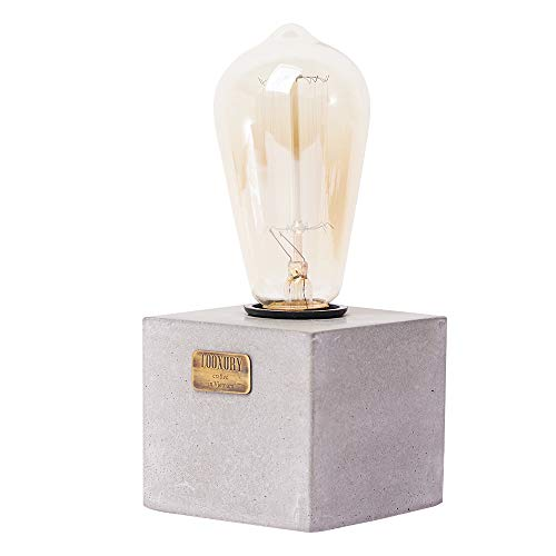 Looxury Concrete Bedside Table Lamp with Edison Light Bulb - Rustic Industrial Minimal Style - Cafe Shop Home Decor - Free Bulb Included