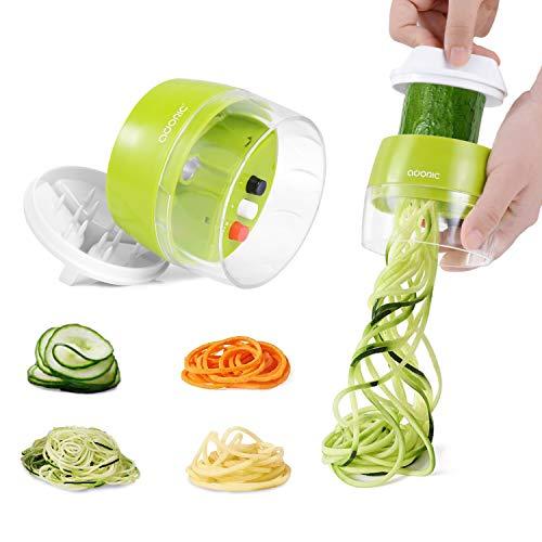 Adoric Spiralschneider Hand [ 3 in 1 ] Gemüse Spiralschneider, Gemüsehobel Gemüsenudeln Schneider für Karotte, Gurke, Kartoffel,Kürbis, Zucchini, Zwiebel, Gemüsespaghetti Tastenumschalten.