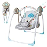 Soothing Portable Swing,Electric Baby Swing with Intelligent Music Vibration Box,Comfort Rocking Chair Load Resistance: 55lb, Applicable Object: 0-36 Months for Infants.