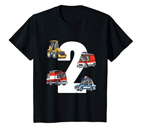 Kinder Rettungswagen und Bagger - 2 Jahre Kindergeburtstag T-Shirt