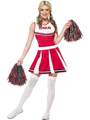 Fancy Ole - Damen Frauen Frauen High School University Cheerleader Kostüm mit Kleid und Pom Poms, perfekt für Karneval, Fasching und Fastnacht, S, Rot