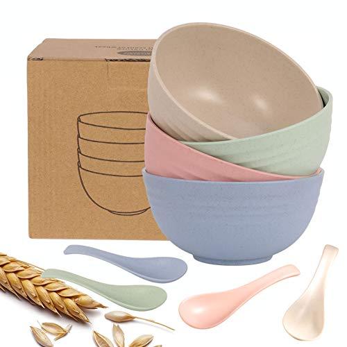 RosewineC Unbreakable Cereal Bowls,24oz 4 Color Lightweight Bowl Sets 4,...