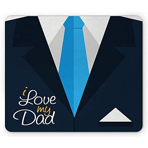 Vaderdag muismat, ik hou van mijn vader kalligrafie op formele pak Tie, rechthoek anti-slip rubber muismat, 25x30cm grijs hemel blauw