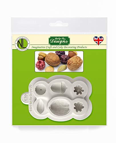 Noten en bessen siliconen mal door Nicholas Lodge voor taartdecoratie, ambachten, cupcakes, suikerwerk, snoepjes, kaarten en klei, voedselveilig goedgekeurd, gemaakt in het Verenigd Koninkrijk