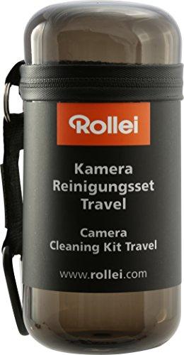 Manfrotto PIXI-EVO Mini-Stativ (2 Segment) (für Einsteiger-DSLR-Kameras und Geräte bis 2,5 kg) schwarz & Rollei Kamera Reinigungsset Travel - Set zur Linsen-, und Objektivreinigung, - schwarz