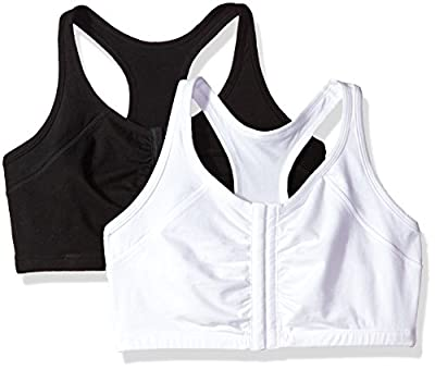 Fruit of the Loom Women's Women's Front Close Racerback (Pack of 2) Bra, Black hue/White ck, 46