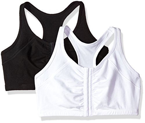 Fruit of the Loom Women's Front Close Racerback (Pack of 2) Bra, Black/White, 36