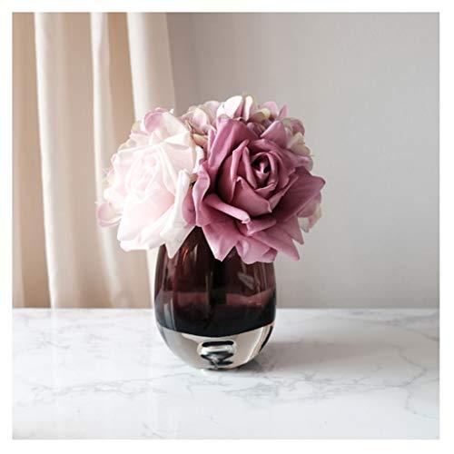 XIAOSAKU Jarrones Decorativos Modernos Artificial Rose Bouquet y Jarrón, Calidad paño de Seda de Flores de Alta Rosa, púrpura Estilo único de diseño, 7.8 Pulgadas de Alto Florero
