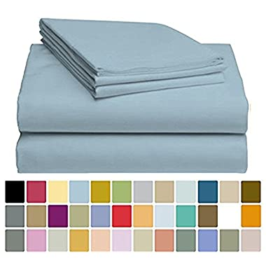 4 PC LuxClub Sheet Set Bamboo Sheets Deep Pockets Eco Friendly Wrinkle Free Sheets Hypoallergenic Anti-Bacteria Machine Washable Hotel Bedding Silky Soft - Light Blue Queen