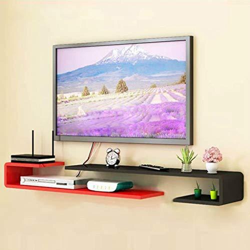 Wandmontage TV Plank Slaapkamer Woonkamer Wandplank Multimedia Opbergplank TV Achtergrond Wanddecoratie Plank Multifunctionele Display Plank, 125cm-130cm, Zwart Rood