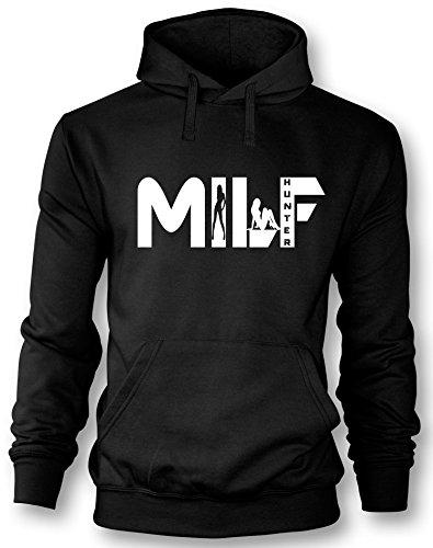 Angry Shirts Milf Hunter - Herren Hoodie Schwarz - Weiß in Größe M