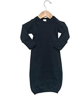 Baby Long Sleeve Sleeper Gown with Mitten Cuffs (0-3M, Black)