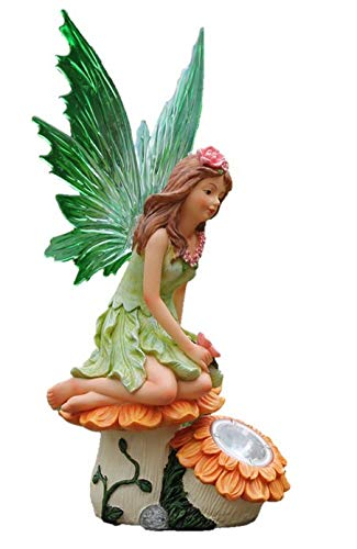 Greenkey Garden and Home Ltd Figura de Hada de Girasol de Resina con Luces solares, Multicolor,...