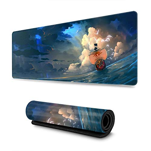 Anime One Piece Large Gaming Mouse Pad, Luffy Extended Mousepad, Mouse Mat with Non-Slip Rubber Base, Keyboard Pad with Durable Stitched Edges 11.8in X 31.5in