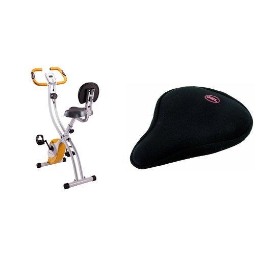 Ultrasport Heimtrainer F-Bike 200B, Weiß/Orange, 331400000071 & Velo Gel Satteldecke Standard (breit), black, 260 x 235 mm