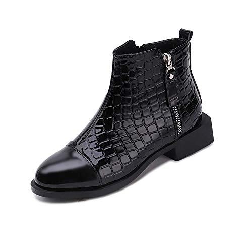 S&H-NEEDRA Frauen Fashion Square Solid Leder Reißverschluss Dicke Stiefel Runde Kappe Schuhe