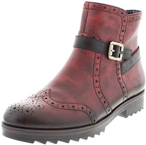 Remonte Damenschuhe R2278 Damen Stiefel, Boots, Schlupfstiefel rot Kombi (vino/schwarz / 35), EU 41