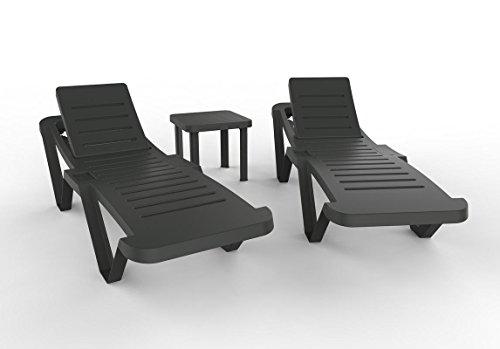 resol set de 2 tumbonas jardín exterior Master y 1 mesa auxiliar Andorra - color antracita