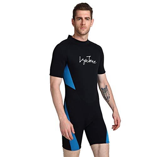 HOMELECT Neoprenanzug Shorty für Herren, Premium 3 mm Neopren Surfing Schnorcheln Tauchen Tauchanzug Neoprenanzüge, UV-Schutz Sonnencreme, dick warm halten Badeanzug,Blue,6XL