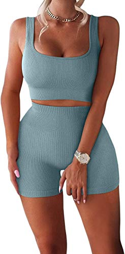 TWFRHC Women's Workout Sets Ribbed Tank 2 Piece Seamless High Waist Gym Outfit Yoga Shorts Sets