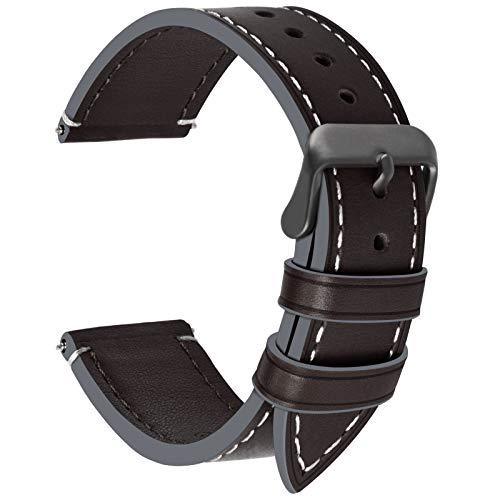 Fullmosa Uhrenarmbanf 20mm Leder, Wax Series Ersatz Armband 20mm/Watch Band für Damen&Herren,Kaffeebraun + Rauchgraue Schnalle 20mm