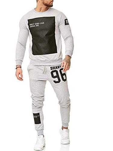 Code47 Jogginganzug Sportanzug Fitness Training Shakur Only God Can Judge Herren (XL, Grau)