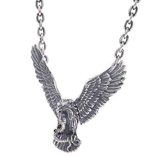 新宿銀の蔵 ワイルド イーグル シルバー 925 ネックレス (チェーン付き) メンズ ペンダント 大きめ 大きい ワシ 鷲 鳥 ネイティブアメリカン