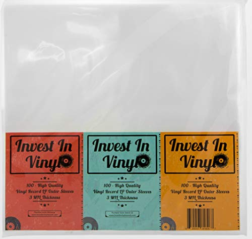 Invest In Vinyl 100 Clear Plastic Protective LP Outer Sleeves 3 Mil. Vinyl Record Sleeves Album Covers 12.75 x 12.5 Provide Your LP Collection with The Proper Protection