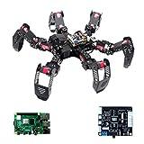 Robot Araña de Seis Patas Kit para Raspberry Pi 4B, Robot Raspberry Pi Car Kit con Brazo robótico 3-DOF, Tutorial and Code, App Control, Live Video, Seguimiento Objetivos OpenCV