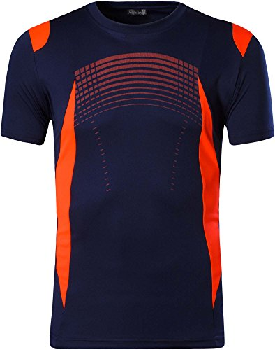 jeansian Hombres Deportes Wicking Quick Dry Respirable Corriente Training tee T-Shirt Sport Tops LSL194 Navy XL