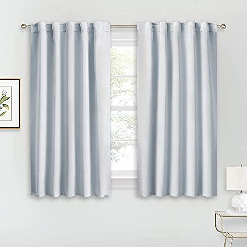 RYB HOME White Curtains for Bedroom - Room Darkening Curtains for Kitchen Curtain Cafe, Insulated Energy Saving Panels for Living Room, Back Tab Top, 42 x 45 inch, Grayish White, 1 Pair