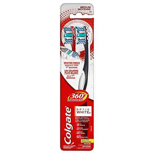 Colgate 360° Advanced Optic White Toothbrush Medium  2 Count