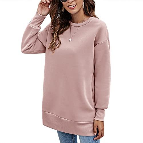 Autunno E Inverno Moda Donna Casual Girocollo Tasche Tinta Unita Allentato Maglione di Media Lunghezza T-Shirt Top Donna