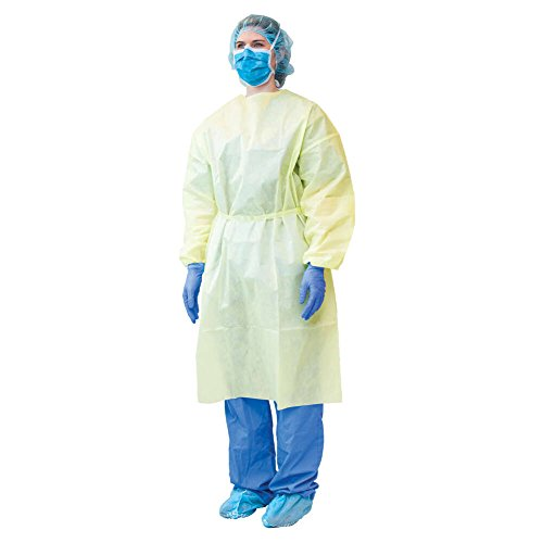 MediChoice Isolation Gown, Level 2, 3-Ply SMS, Full Back, Tape Tab Neck, Waist Tie, Elastic Cuff, Welded Seams, XL, Yellow (Case of 100)