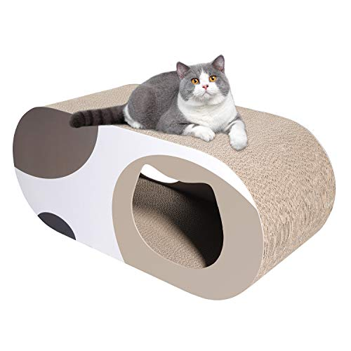 ComSaf Durable Cat Scratcher Cardboard, Corrugated Scratch Pad, Cat Scratcher Lounge with Hole, Furniture Protection, Cat Training Toy, Large Pack of 1