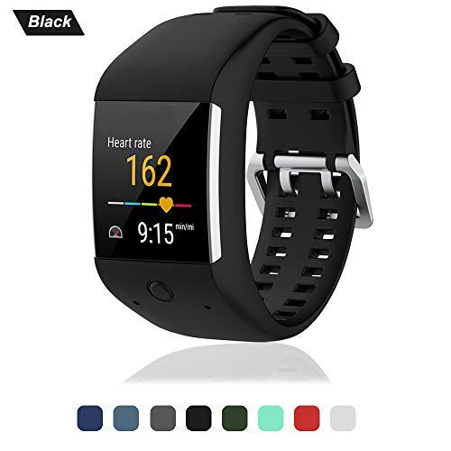 Armband für Polar M600 Watch, Silikon Ersatz Handgelenk Uhrenarmband Smartwatch Zubehör Ersatzarmband Fitness Sport Uhrband Wechselarmband für Polar M600 Uhr Gurt (Schwarz)