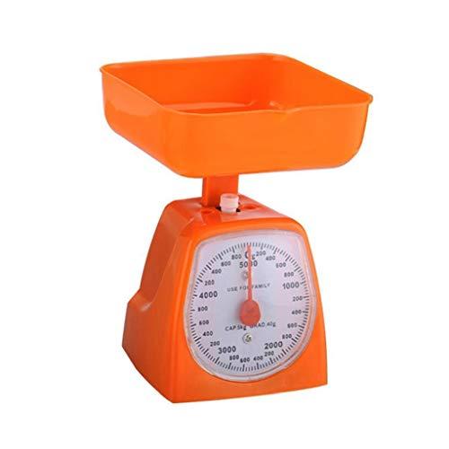 Nicedier Resorte de plástico Herramientas de medición de Peso balanza de Cocina mecánica Bench Scales 5 kg Bandeja de Acero Inoxidable balanza de Resorte mecánico 1 Set Color al Azar