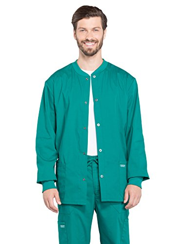 CHEROKEE Workwear WW Professionals Mens Men's Snap Front Jacket, WW360, L, Hunter Green
